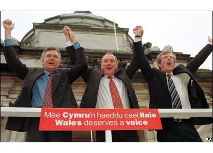 Celebrating a yes vote in the Welsh referendum on devolution