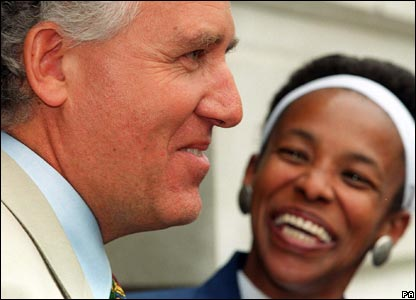 Foreign Office Minister Peter Hain during a meeting with South African High Commissioner Cheryl Carolus outside South Africa House in London