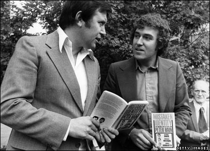 Peter Hain (right), with his book Mistaken Identity
