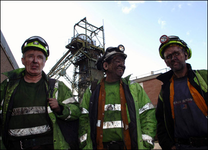 Colliers coming to the surface after their shift at the historic colliery on Thursday