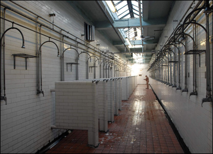 An almost deserted shower block on the colliery's last working day