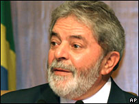 Brazilian President Luiz Inacio Lula da Silva on 23 January 2008