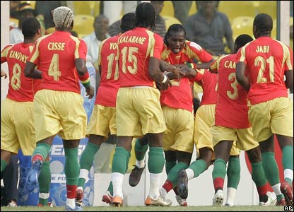 Guinea celebrate the opening goal