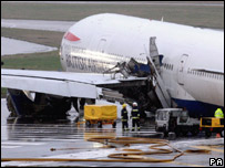 The crashed British Airways Boeing 777