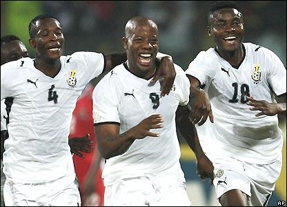 Agogo celebrates Ghana's winning goal
