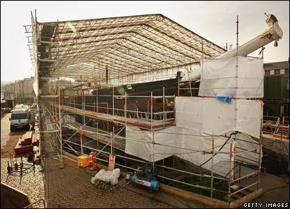 The Cutty Sark under restoration