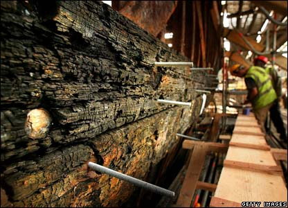 Teak panels on the Cutty Sark