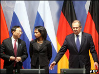 Chinese Foreign Minister Yang Jiechi (L), US Secretary of State Condoleezza Rice (C), Russian Foreign Minister Sergey Lavrov (R) after talks at Berlins foreign ministry 22.01.08