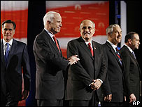 Left to right  Mitt Romney, John McCain, Rudy Giuliani, Ron Paul, Mike Huckabee.