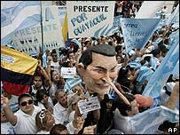 Protest march in Guayaquil against Ecuador's President Correa and his government
