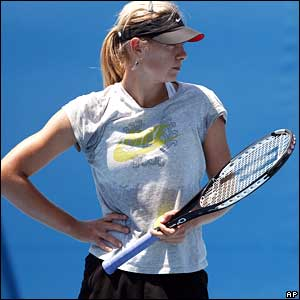 Maria Sharapova on the practice courts
