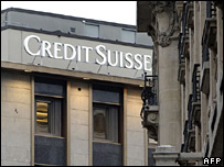 Credit Suisse logo above its Geneva office
