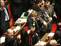 Italian opposition senators celebrate with champagne 24 January 2008