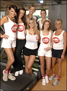 Lizzie Cundy, Nicola T, Nicola McLean, Jude Cisse, Melissa Johnson, Jadene Bircham and Alex Best do their Sport Relief Mile