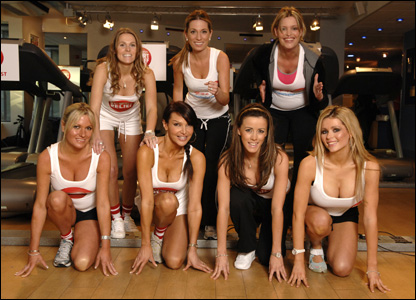 Jude Cisse, Melissa Johnson and Jadene Bircham (top left to right), Alex Best, Lizzie Cundy, Nicola T and Nicola McLean (bottom row left to right) do their Sport Relief Mile