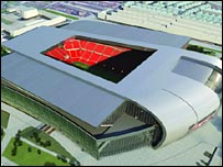 Computer generated image of Liverpool's new stadium design.