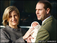 The Earl and Countess of Wessex with their baby, James