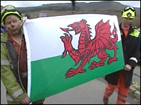 Miners with Welsh flag
