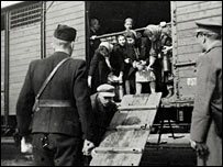 Jews forced on a train. Photo: �  H.E.A.R.T www.HolocaustResearchProject.org