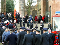 Firefighters attending  memorial