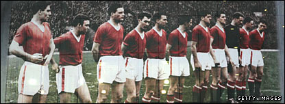 A giant mural of the 1958 Manchester United team outside Old Trafford