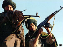 Taleban fighters north of Kabul in 1998