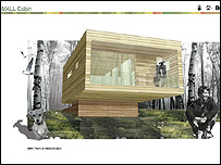 Artist's impression of eco-cabin: Pic Durrell Wildlife Conservation Trust