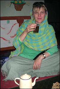 Kate Clark drinking tea in Hazarajat, Afghanistan