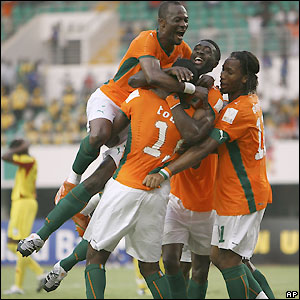Ivory Coast celebrate making it 2-0