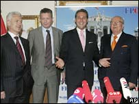From left to right: Volen Siderov from Bulgaria's Ataka, Frank Vanhecke from Belgium's Vlaams Belang, Heinz-Christian Strache from Austria's Freedom Party and Jean-Marie Le Pen from the French Front