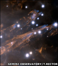 Stars in Orion (Gemini Observatory/T.Rector)