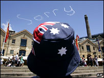 """A plane spells """"sorry"""" in the sky over Sydney on Australia Day on Saturday"""