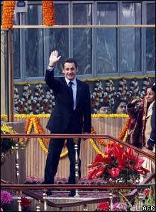 French President Nicholas Sarkozy was the guest of honour at the parade