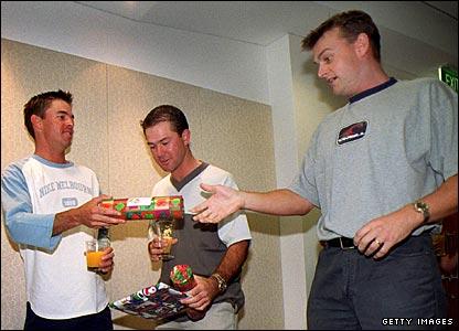 Greg Blewett, Ricky Ponting and Adam Gilchrist