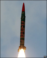 A medium-range ballistic missile is tested in Pakistan on 25 January, 2008