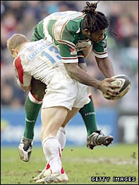 Newcastle centre Jamie Noon tackles Leicester counterpart Seru Rabeni