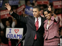 Barack and Michelle Obama at his victory rally in Columbia, South Carolina