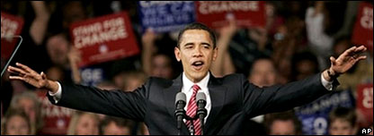 Barack Obama greets crowds at his victory rally in Columbia, South Carolina