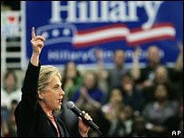 Hillary Clinton at a campaign event in Nashville, Tennessee, 26 Jan 08