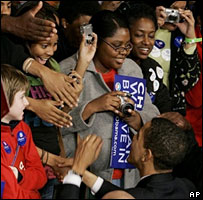 Barack Obama shakes hands with supporters after his victory rally in South Carolina, 26 Jan 08