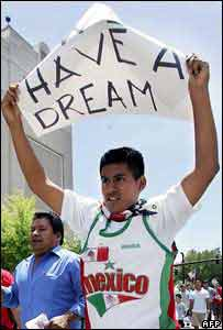 An immigrant demonstrates in Miami in 2006