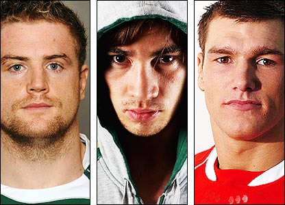 Ireland's Jamie Heaslip, England's Danny Cipriani and Wales's Tom James