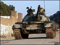 A Pakistani tank during an assault on Dara Adam Khel