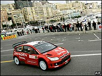 Sebastien Loeb on the Monaco waterfront on his way to winning the Monte Carlo rally for a record fifth time