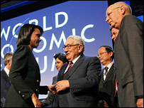 US Secretary of State Condoleezza Rice, Henry Kissinger, Professor Schwab