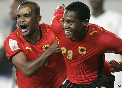 Manucho celebrates as Angola take the lead