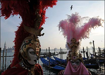 Costumed participants in the Venice Carnival