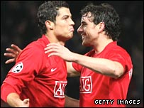 Cristiano Ronaldo (left) is congratulated by Owen Hargreaves.
