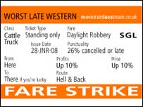 Fake ticket produced by protest group More Train Less Strain