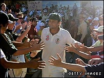 Adam Gilchrist is congratulated by fans after his final Test